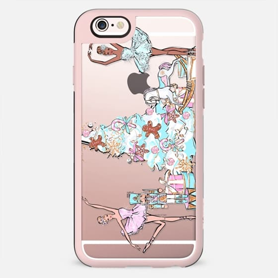 The Nutcracker Transparent Pattern Pastel Cute Christmas Winter Snowflakes Snow African American Fashion Girl Illustration Christmas Tree Gingerbread Cookies - New Standard Case