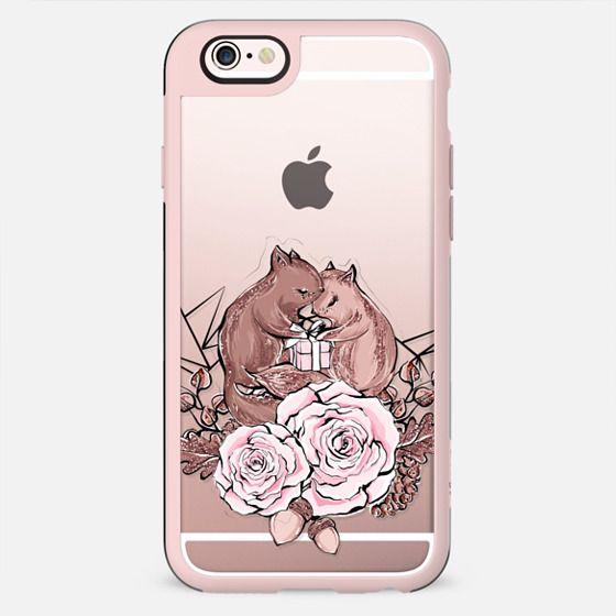 Cute Valentine Transparent Squirrel Romantic Couple Pink Rose Gold Chocolate XOXO Heart Love Geometric - New Standard Case