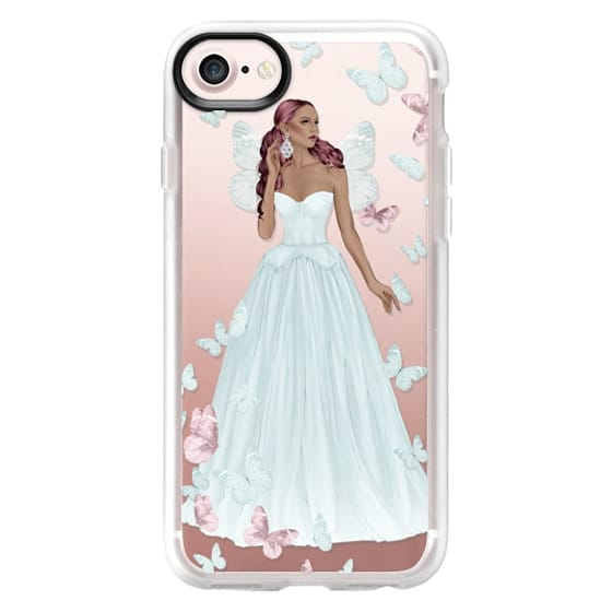 iPhone 6s Cases - African American Fairy Fairytale Princess Fashion Illustration Girl Pastel Blue Pink Rose Gold Transparent Pattern Butterflies Butterfly Cinderella