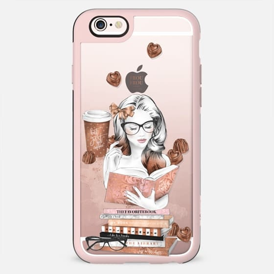 Book Lover Bookworm Book Addict Fashion Illustration Transparent Coffee Addict But First Coffee Cute Nerd Ginger Watercolor Chocolates Planner Girl - New Standard Case