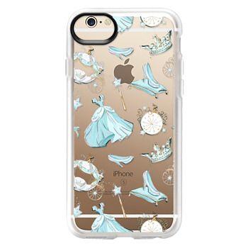Grip iPhone 6 Case - Princess Cinderella Transparent Glitter Cute Fashion Fairy Tale Illustration Pumpkin Fall Floral Pattern