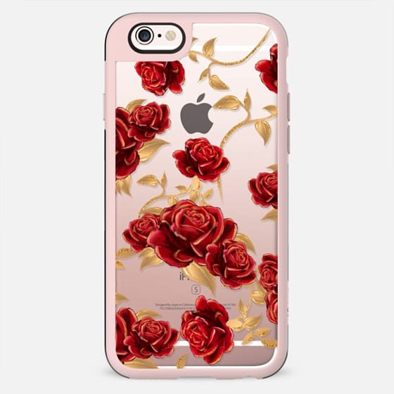 Red Roses Beauty and The Beast Transparent Fashion Girl Illustration Belle Love Will Always Find a Way Tale as Old as Time Red Roses Gold Glitter - New Standard Case