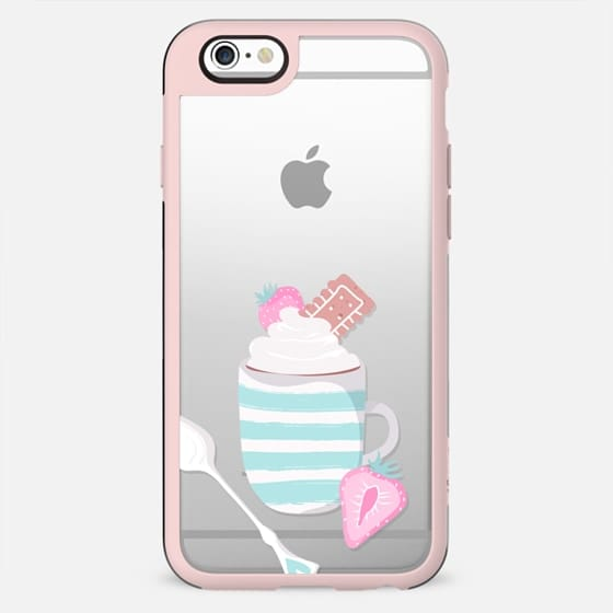 Paris Eiffel Tower Coffee Macarons Croissant Strawberries Hot Chocolate Transparent Pastel Mint Pink Girly Cute Pattern - New Standard Case