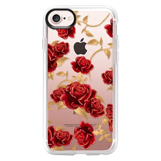 iPhone 6s Cases - Red Roses Beauty and The Beast Transparent Fashion Girl Illustration Belle Love Will Always Find a Way Tale as Old as Time Red Roses Gold Glitter