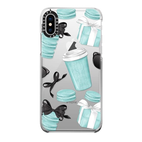 iPhone X Cases - Mint Fashion Illustration Transparent Breakfast at Girly Mint Black Classy Glamour Watercolor Coffee