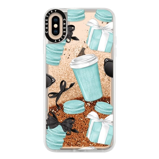 iPhone XS Max Cases - Mint Fashion Illustration Transparent Breakfast at Girly Mint Black Classy Glamour Watercolor Coffee