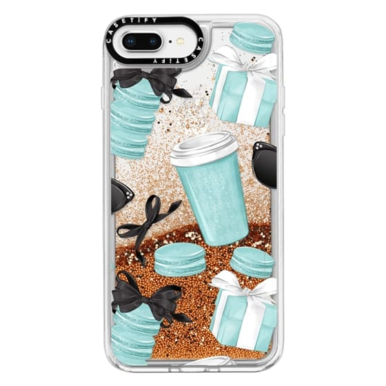 iPhone 8 Plus Cases - Mint Fashion Illustration Transparent Breakfast at Girly Mint Black Classy Glamour Watercolor Coffee