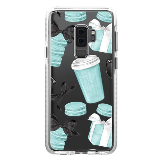 hot sales 927fd 19af4 Impact Samsung Galaxy S9 Plus Case - Mint Fashion Illustration Transparent  Breakfast at Girly Mint Black Classy Glamour Watercolor Coffee