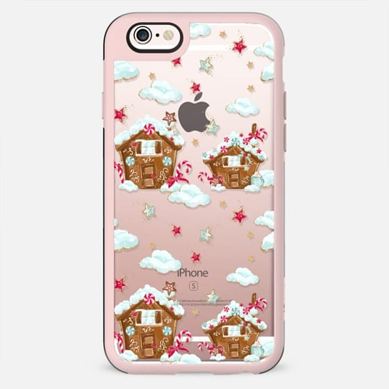 Cute Christmas Xmas Transparent Pattern Gingerbread Cookies Hot Cocoa Chocolate Cozy Gold Glitter