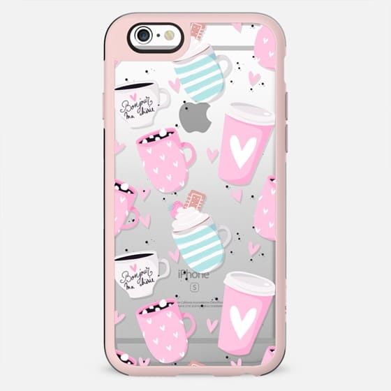 Paris Eiffel Tower Coffee Macarons Croissant Strawberries Hot Chocolate Transparent Pastel Mint Pink Girly Cute Pattern