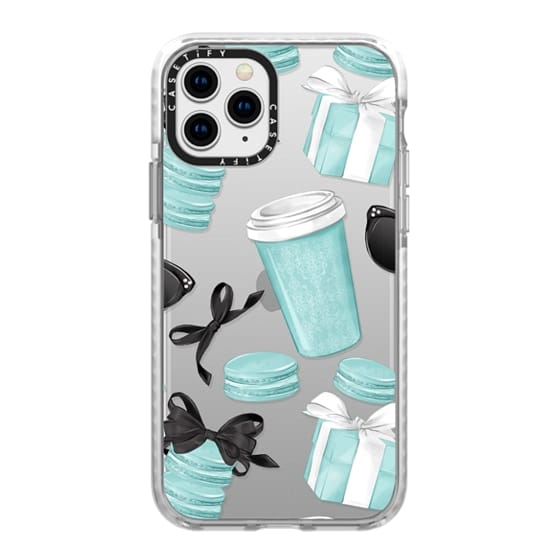 iPhone 11 Pro Cases - Mint Fashion Illustration Transparent Breakfast at Girly Mint Black Classy Glamour Watercolor Coffee