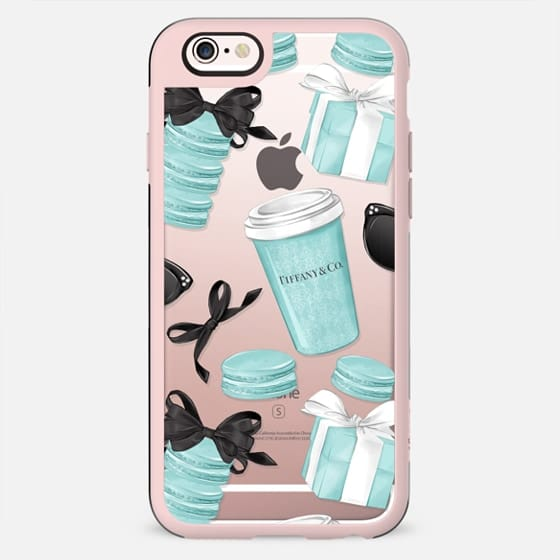 Tiffany Blue Fashion Illustration Transparent Breakfast at Tiffany's Girly Mint Black Classy Glamour Watercolor Coffee - New Standard Case