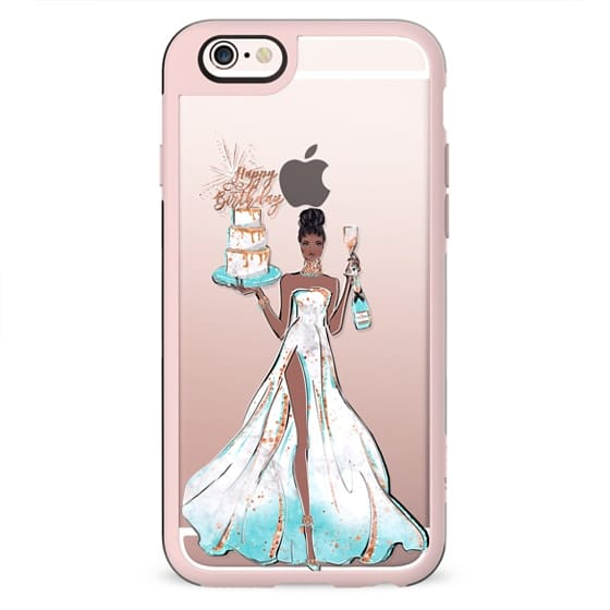 Happy Birthday Glam African American Fashion Girl Transparent Glitter Cake Balloons Champagne Glass Gift Rose Gold Mint