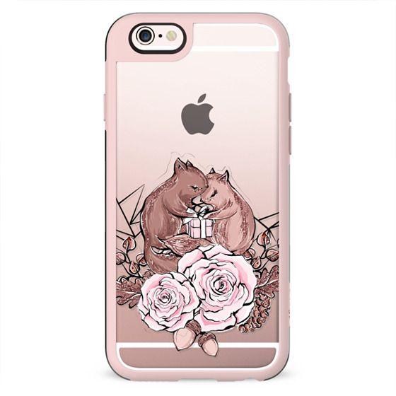 Cute Valentine Transparent Squirrel Romantic Couple Pink Rose Gold Chocolate XOXO Heart Love Geometric