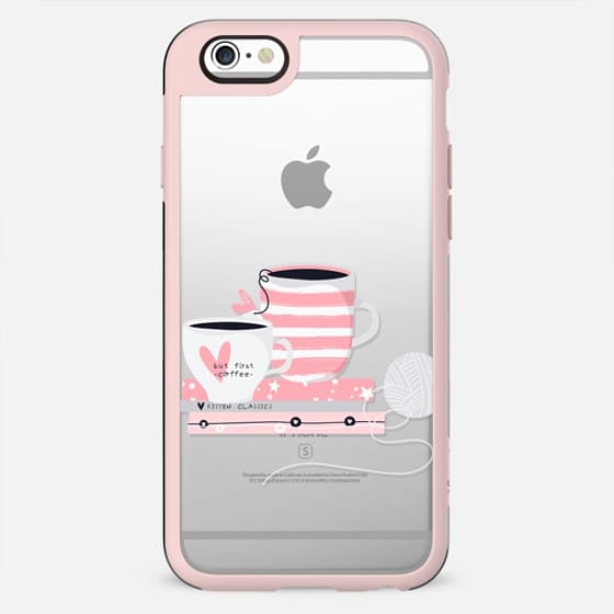 Cute Kitten Cat Kitty Transparent Pattern Heart Love Coffee Chocolate Tea Pink Pastel Cutie Girly Chic Floral - New Standard Case