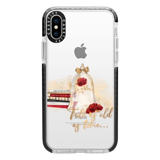 iPhone X Cases - Tale as Old as Time Beauty and The Beast Transparent Fashion Girl Illustration Belle Love Will Always Find a Way Tale as Old as Time Red Roses Gold Glitter