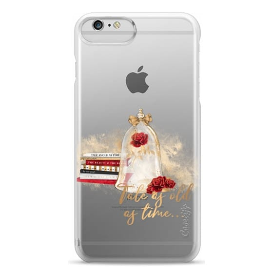 iPhone 6 Plus Cases - Tale as Old as Time Beauty and The Beast Transparent Fashion Girl Illustration Belle Love Will Always Find a Way Tale as Old as Time Red Roses Gold Glitter