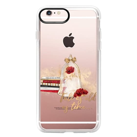 iPhone 6s Plus Cases - Tale as Old as Time Beauty and The Beast Transparent Fashion Girl Illustration Belle Love Will Always Find a Way Tale as Old as Time Red Roses Gold Glitter