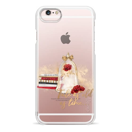 iPhone 6s Cases - Tale as Old as Time Beauty and The Beast Transparent Fashion Girl Illustration Belle Love Will Always Find a Way Tale as Old as Time Red Roses Gold Glitter