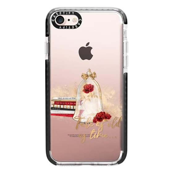 iPhone 7 Cases - Tale as Old as Time Beauty and The Beast Transparent Fashion Girl Illustration Belle Love Will Always Find a Way Tale as Old as Time Red Roses Gold Glitter