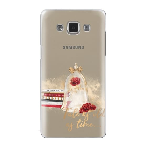 Samsung Galaxy A5 Cases - Tale as Old as Time Beauty and The Beast Transparent Fashion Girl Illustration Belle Love Will Always Find a Way Tale as Old as Time Red Roses Gold Glitter