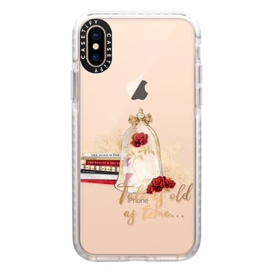 iPhone XS Cases - Tale as Old as Time Beauty and The Beast Transparent Fashion Girl Illustration Belle Love Will Always Find a Way Tale as Old as Time Red Roses Gold Glitter