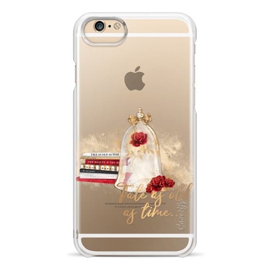 iPhone 6 Cases - Tale as Old as Time Beauty and The Beast Transparent Fashion Girl Illustration Belle Love Will Always Find a Way Tale as Old as Time Red Roses Gold Glitter