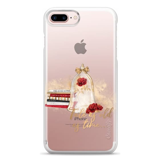 iPhone 7 Plus Cases - Tale as Old as Time Beauty and The Beast Transparent Fashion Girl Illustration Belle Love Will Always Find a Way Tale as Old as Time Red Roses Gold Glitter