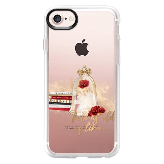 iPhone 4 Cases - Tale as Old as Time Beauty and The Beast Transparent Fashion Girl Illustration Belle Love Will Always Find a Way Tale as Old as Time Red Roses Gold Glitter