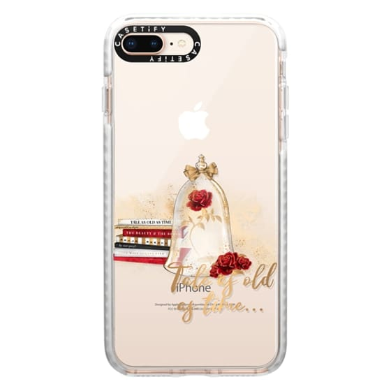 iPhone 8 Plus Cases - Tale as Old as Time Beauty and The Beast Transparent Fashion Girl Illustration Belle Love Will Always Find a Way Tale as Old as Time Red Roses Gold Glitter