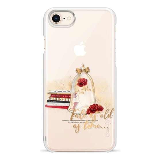 iPhone 8 Cases - Tale as Old as Time Beauty and The Beast Transparent Fashion Girl Illustration Belle Love Will Always Find a Way Tale as Old as Time Red Roses Gold Glitter