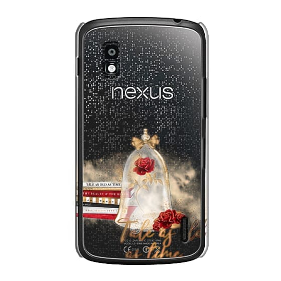 Nexus 4 Cases - Tale as Old as Time Beauty and The Beast Transparent Fashion Girl Illustration Belle Love Will Always Find a Way Tale as Old as Time Red Roses Gold Glitter