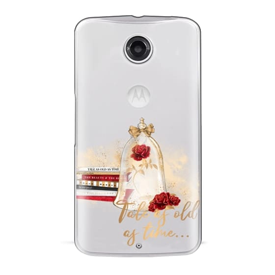 Nexus 6 Cases - Tale as Old as Time Beauty and The Beast Transparent Fashion Girl Illustration Belle Love Will Always Find a Way Tale as Old as Time Red Roses Gold Glitter