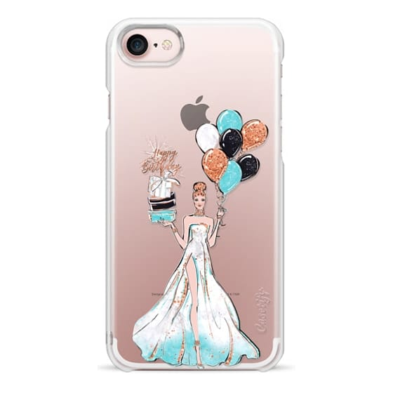 iPhone 6s Cases - Happy Birthday Glam African American Fashion Girl Transparent Glitter Cake Balloons Champagne Glass Gift Rose Gold Mint