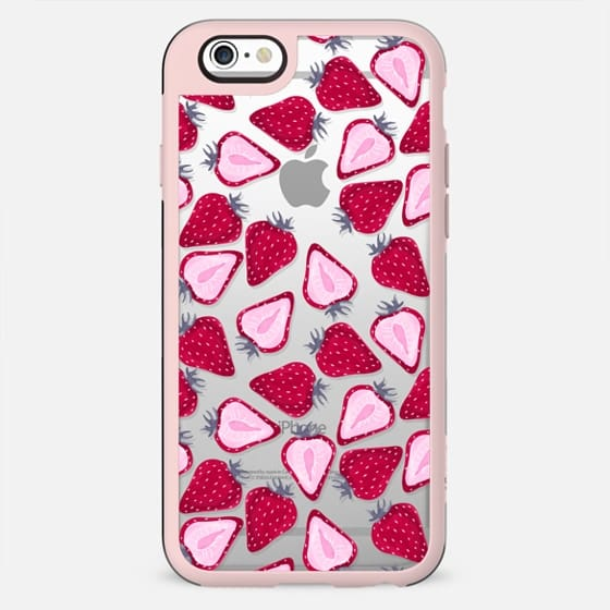 Cute Strawberries I Love Cooking Bakery Baking Kitchen Macarons Coffee Transparent Pink Red Pattern - New Standard Case