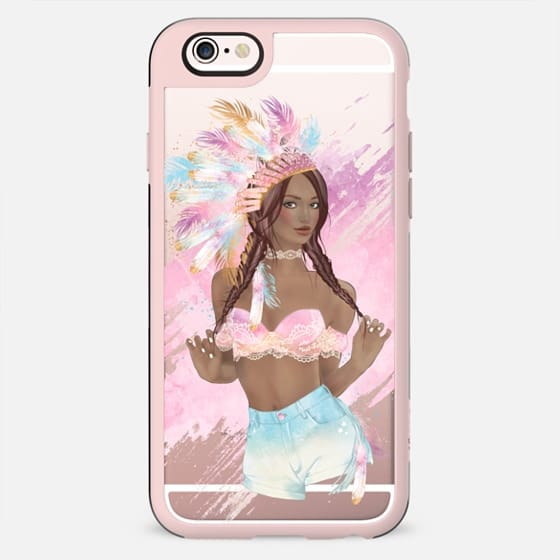 Coachella Boho Chic Bohemian Girl Transparent Fashion Illustration Hippie Indie Indian Native American Tribal Pastel Feathers African American