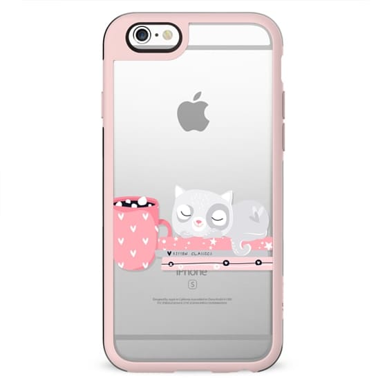 Cute Kitten Cat Kitty Transparent Pattern Heart Love Coffee Chocolate Tea Pink Pastel Cutie Girly Chic Floral