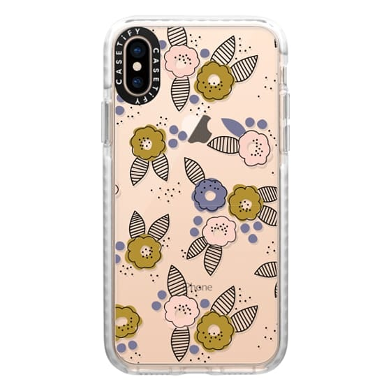 iPhone XS Cases - Stripe Floral