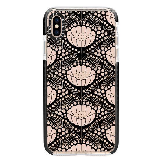 iPhone XS Max Cases - Art Deco Blossom (black)