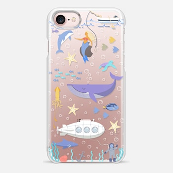 iPhone 7 Case Under the sea, mermaid, whale and delphine underwater adventures.