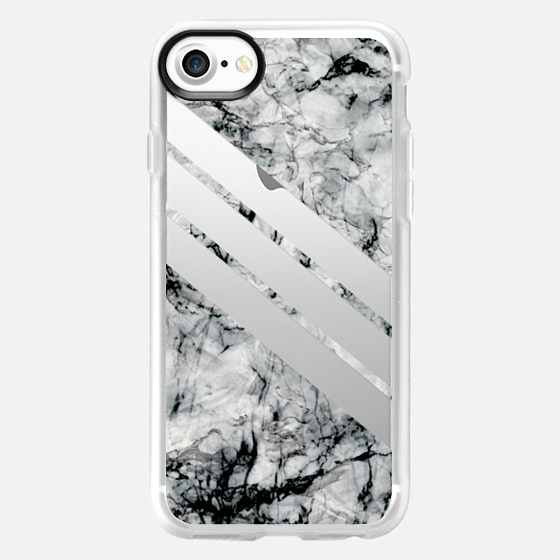 Transparent stripes on black and white marble - matching your adidas - - Wallet Case