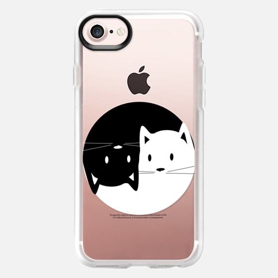 Yin Yang cats - black and white transparent cat lover case - Wallet Case