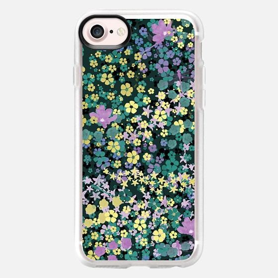 Floral on green fashionista pattern - Classic Grip Case
