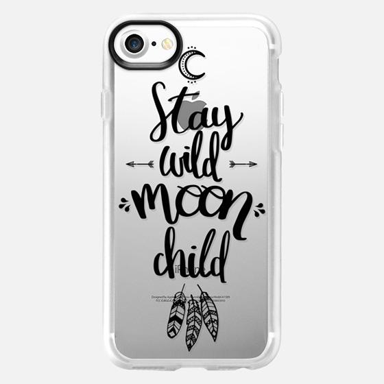 Stay wild moon child / boho black caligraphy - Classic Grip Case