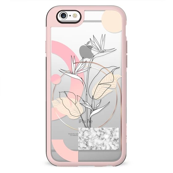 Tropical minimal: bird of paradise floral with marble and pink