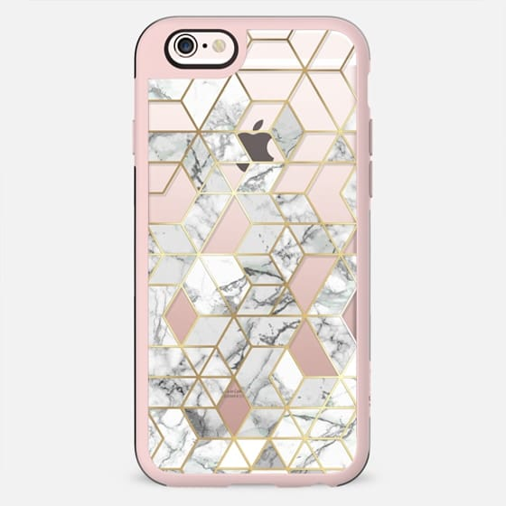 Marble geometry / gold frame hexagon pattern on clear background - New Standard Case