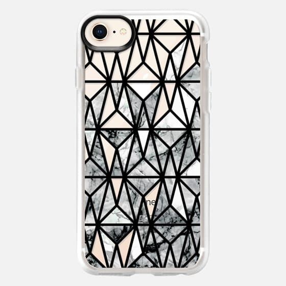 black and white Marble geometric tile pattern - Snap Case