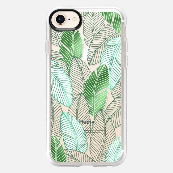 Transaprent green tropical leaves pattern - Snap Case