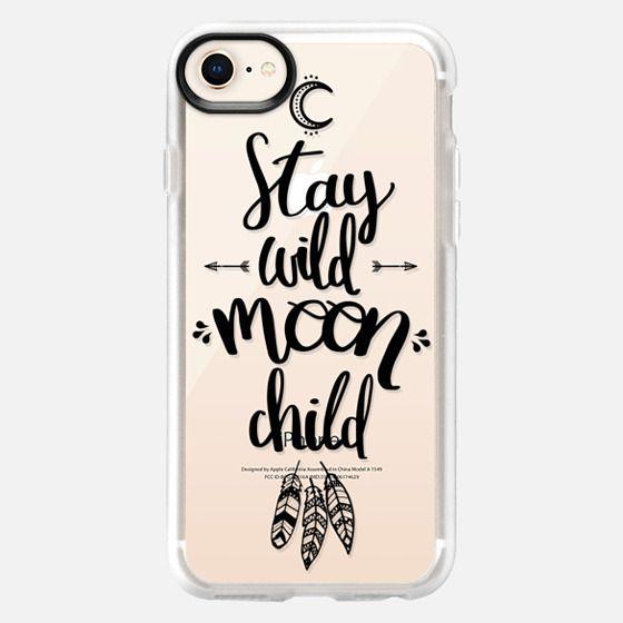 Stay wild moon child / boho black caligraphy - Snap Case