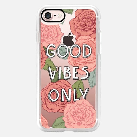 Good vibes only / roses pattern illustration on clear background -